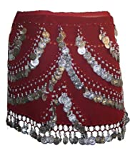 CR Agan Traders Curly Belly Zumba Hip Coin Gypsy Hip Scarf (One Size Gold, Burgundy)