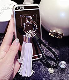 iPhone 6/6s Case, Cyberways PC Mirror Effect Hard Back Cover with Soft TPU Frame Cover[ Fashion Metal Buckle Pendant Tassels&Wrist rope][Ruggedness/Refinement/Unique/Fashion/Multicolor]-purple
