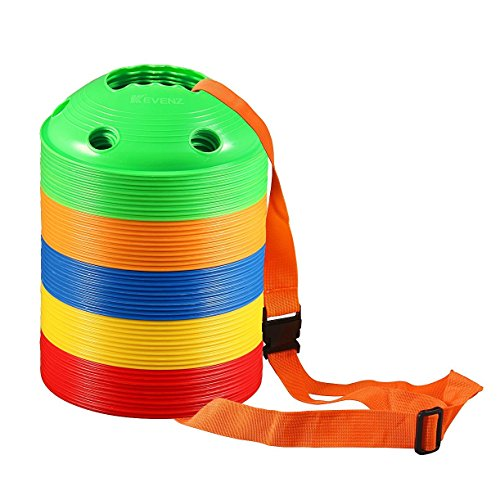 Kevenz Thicker Soft Soccer Discs Cones(12/25/50/100-Pack) (Yellow/Red/Green/Blue/Orange) (100 Counts,Yellow/Red/Green/Blue/Orange New) (4 Disc Cones compare prices)