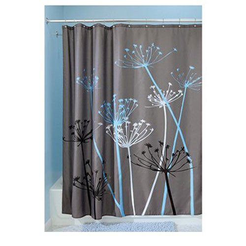 Hookless Shower Curtain Blue Bathroom Decor Graphic Floral