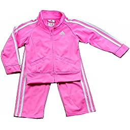 Adidas Girl\'s 2-Piece Tricot Pink/White Track Jacket & Pant Set