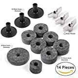 Set of Replacement Cymbal Accessories - (14 Pieces) w/ 6 Cymbal Felts (8-10mm), 1 Hi-Hat Clutch Felt (6-8mm), 1 Hi Hat Cup Felt (6-8mm), 3 Cymbal Sleeves (8-10mm), 3 Wing Nuts (8mm) - Standard Size