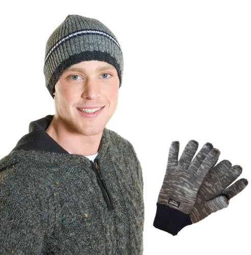 New Mens Quality Striped Beanie Hat & Thick Glove Warm Winter Thermal Set-Navy
