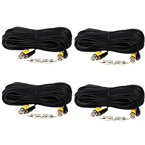 VideoSecu 4 Pack 100ft Feet BNC Video Power Cables Pre-made All-in-One Security Camera Extension Wires Cords with Free BNC RCA Connectors for CCTV DVR Home Surveillance System C18