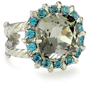 "Sorrelli ""Salt Water"" Crystal Cushion Cut Adjustable Silver-Tone Ring"