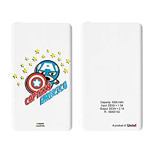 Hamee Livtel x Hamee Marvel Licensed Avengers 5000 mAh PowerBank with LED indicators and Reversible Micro-USB cable (Kawaii / Captain America)
