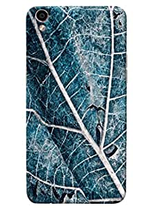 Omnam Blue Leaf With Cloesup Pattern Printed Designer Back Cover Case For Oppo F1 Plus