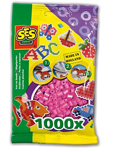 SES Creative Iron On Beads, Pink, 1000-Pack