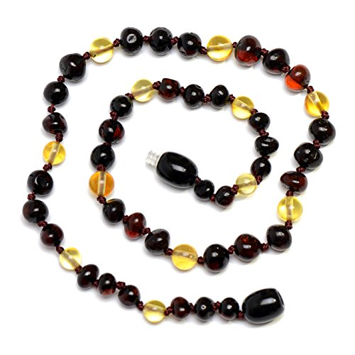 Hand Made Baltic Amber Teething Necklace for Babies - Safety Knotted - 1