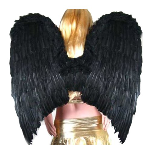 SACAS Super Large Black Feather Angel halloween Wings w/ Halo for adult