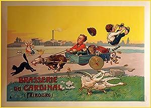Vintage Grande Brasserie ET Malterie de la Kardinal, Freiburg, Reproduktion Bier Poster Auf 200gsm A3SATIN (Low Gloss) Art Karte