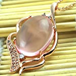 Rose Gold Pink Crystal Pendant (Free Chain)