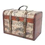 Boîte de rangement en bois Vintage avec Globe terrestre, idée Cadeau pour la Saint Va