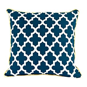 Room Service Nautical Collection Nautical Moroccan Pillow, 20-inch x 20-inch, Navy Blue/White/Yellow