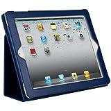 ipad4 対応ipad2/第3世代iPad・newiPad ケース/iPad2 レザーケース/iPad2 カバー/iPad ケース/ブックスタンドタイプiPad ケース iPad2 全11カラー対応 NAVY