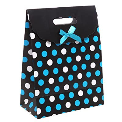 Bridal Shower Gift Bags / Baby Shower / Party / Birthday Giftbag Style Boxes and Tissues -- Blue / White Polka Dot Bow Tie Flap Top (SET of 5)