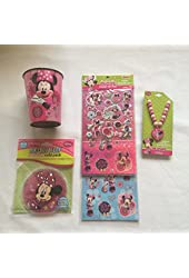 Minnie Mouse Bowtique Necklace and Sticker 4 Piece Bundle Set