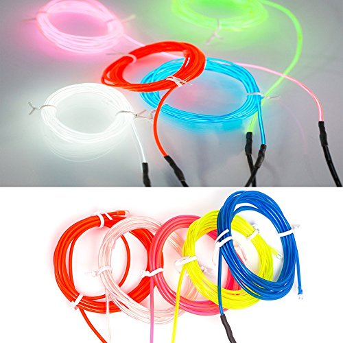 B-right 5 X 2 Meter El Wire Kits White Blue Red Green Pink For Burning Man Halloween Christmas Party Decoration