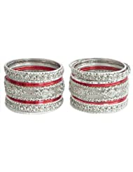 Two Sets Of Stone Studded White With Red Bangles - Metal