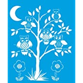 21cm x 17cm Reusable Flexible Plastic Stencil for Graphical Design Airbrush Decorating Wall Furniture Fabric Decorations Drawing Drafting Template - Birds Owl Tree Branch Leaves Moon