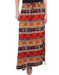 Purys Women's A-line Maxi Skirt (E-170195SP-5008_Multi Orange Black_M)