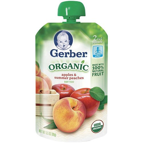 Gerber Organic 2Nd Foods Pouch 3.5Oz - Apples & Summer Peaches front-951666