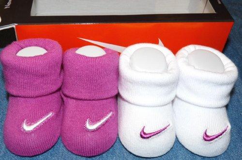 Nike Swoosh Logo Baby Booties Crib Socks, 0-6 Months, Pink/White, 2 Pair.