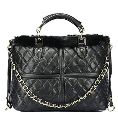 Fashion Patchwork Black and White Chain Shoulder Bag