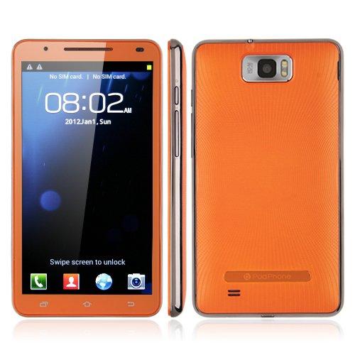 Star N9776 Smart Note II 6.0 インチ Android 4.0搭載デュアルコア搭載 スマートフォン  MTK6577 Cortex A9  2GB+512MB 3G GPS 1.0GHzプロセッサー 800万画素カメラ 日本語設定済み 静電式タッチパネル 携帯電話 2つバッテリー付属オレンジ