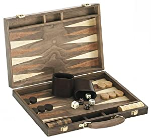 "18"" Quality Deluxe Wooden Backgammon Game Set - Walnut"