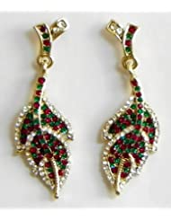 Faux Emerald, Garnet And Cubic Zirconia Leaf Earrings - Stone And Metal