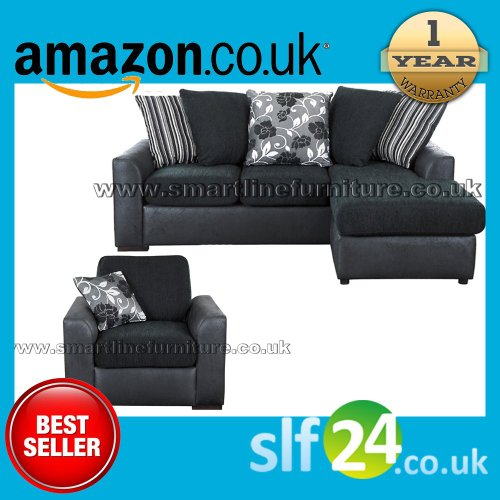 Luxurious Hause Corner Sofa Black and Chair sofa - Can Be Use as Right or Left Hand
