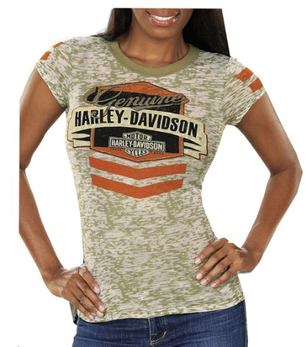 Harley-Davidson Womens Salute Stripe Burnout Green Short Sleeve (Medium)