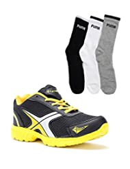 Elligator Black & Yellow Stylish Sport Shoes With Puma Socks For Men's - B0144R38IA