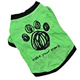 Binmer(TM)Dog Clothes New Cute Dog Pet Cat Spring Summer Pet T-Shirt Clothes Puppy Clothing (Green, XS)