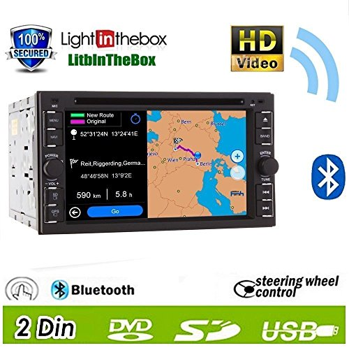 Pupug 2014 New Hot Model 6.2-Inch Double-2 Din In Dash Touch Screen Lcd Monitor With Dvd/Cd/Mp3/Mp4/Usb/Sd/Amfm/Rds/Bluetooth And Gps Navigation Sat Nav Head Deck Tape Recorder Subwoofer Hd:800*480 Lcd New Panel Design! Free Gps Antenna+Free Gps Map