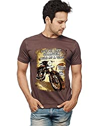 Wear Your Opinion Men's Graphic Printed T-Shirt, Enfield, Half Sleeve, Casual, Brown, XXL