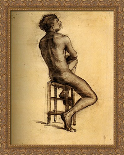 Seated Male Nude Seen from the Back 28x36 Large Gold Ornate Wood Framed Canvas Art by Vincent van Gogh