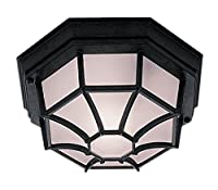 Searchlight 2942BK Hexagonal 6 sided Black IP44 Flush Porch / Outdoor Wall or Ceiling Lantern Light / Lighting by SearchLight