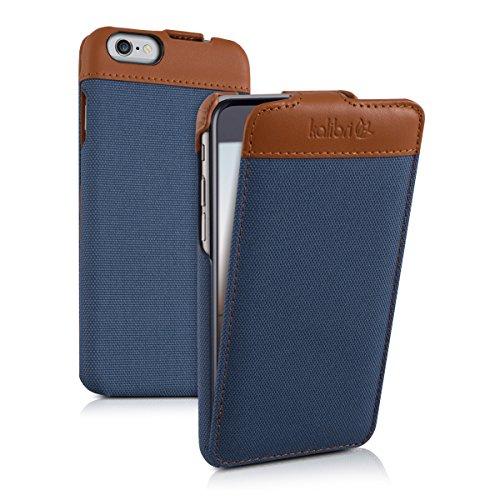 kalibri-Flip-Case-Hlle-Emma-fr-Apple-iPhone-6-6S-Aufklappbare-Stoff-und-Echtleder-Schutzhlle-Tasche-im-Flip-Cover-Style-in-Blau-Braun