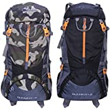 Gleam 0109 Climate Proof Mountain 75 Ltrs Camouflage & Black Rucksack Backpack With Rain Cover (set Of 2 Combo)
