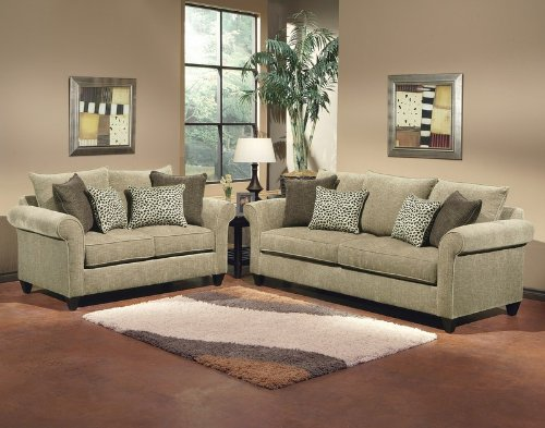 Buy Low Price Benchley 2pc Sofa Loveseat Set Multi Throw Pillow Back in Light Taupe Color (VF_BCL-VENEZIA)
