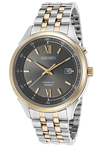 Seiko Men'S Ska658 Two-Tone Stainless-Steel Seiko Kinetic Watch With Grey Dial