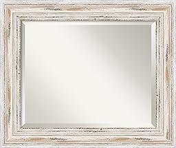 Wall Mirror Medium, Alexandria White Wash Wood: Outer Size 25 x 21\