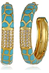 """CZ by Kenneth Jay Lane """"Trend Collection"""" Gold-Plated, Cubic Zirconia, and Turquoise-Tone Enamel Hoop Earrings, 3 CTTW"""