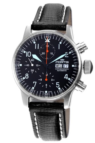 Fortis Men's 597.11.11L Flieger Automatic Chronograph Black Dial Watch