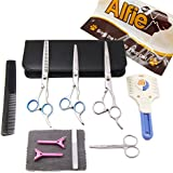 Alfie Pet by Petoga Couture - 10-piece Pet Home Grooming Kit - Curved, Straight, Thinning Shears, Round-Tip Scissors, Razor Comb Trimmer, Travel Case Set
