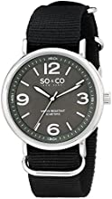 So & Co New York Soho Men's Quartz Watch with Luminous Black Dial Analogue Display and Black Fabric Strap 5002.1