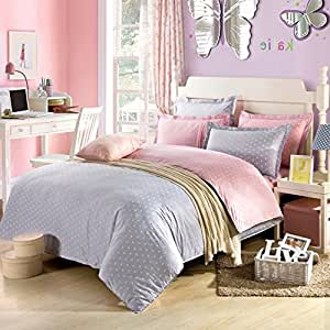 lt twin full queen size 100 cotton pink white gray bedding sets comforter sets. Black Bedroom Furniture Sets. Home Design Ideas