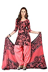 BanoRani Womens Black & Tomato Red Color PolyCotton Unstitched Dress Material
